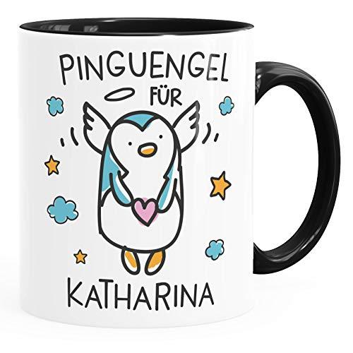 SpecialMe® personalisierte Kaffeetasse Pinguengel Engel Pinguin Schutzengel mit Name Namenstasse Glücksbringer Geschenk Inner-Schwarz Keramik-Tasse