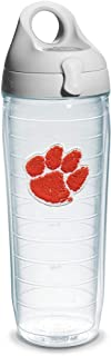 Tervis 1073521 Clemson University Paw Emblem Individual Water Bottle with Gray lid, 24 oz, Clear
