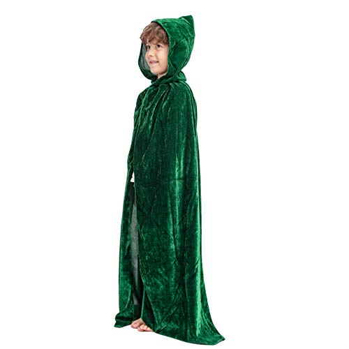 Spooktacular Creations Long Hooded Cloak Velvet Cape Child (Green)