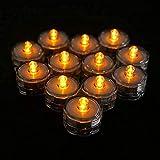 Realista Nuevo 12Pcs / Set Luces LED de té a Prueba de Agua Velas Sin Llama Operadas para decoración de Banquete de Boda Lámpara de candelita Brillante (Color: Amarillo)