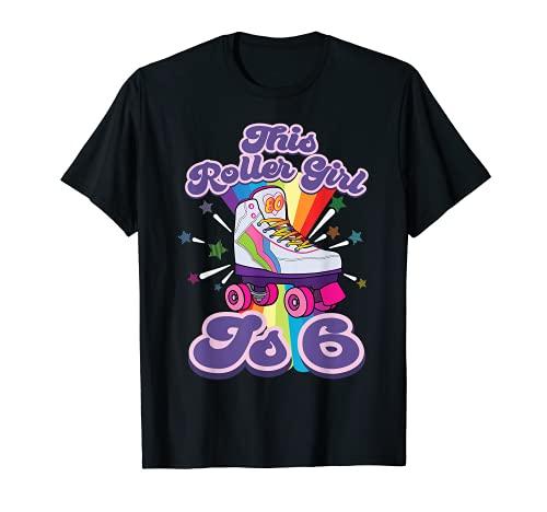 Patinaje sobre ruedas 6 años 6th Birthday Girl Skate 80's Gift Camiseta