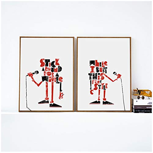 Canvaskunst Schilderij Microfoon Eenvoudige Abstracte Cartoon Poster Foto Kinderen Slaapkamer Wanddecoratie Muurschilderingen 20x30cm (7.8