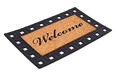 "BirdRock Home Rubber moulded brush coir mat w/ scroll border - ""Welcome"""