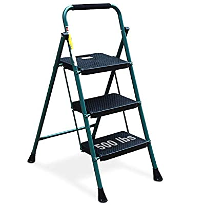 HBTower 3 Step Ladder, Folding Step Stool with Wide Anti-Slip Pedal, Sturdy Steel Ladder, Convenient Handgrip, Lightweight 500lbs Portable Steel Step Stool