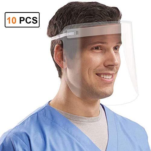 Coota Face Shield 10 PCS,Visera de protección facial con visera clara transparente...