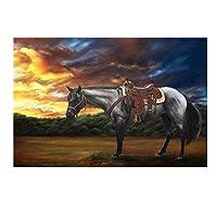日没の馬風景壁アートポスターHdプリントキャンバス絵画ホームリビングルーム寝室アートワークギフト装飾写真-50x75CMフレームなし