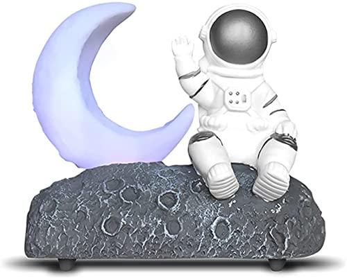 CYKJ Light Light Astronauta Luminoso Altavoces Bluetooth Nuevo Cumpleaños Creativo Regalo Decoración de Altavoz Soporte AUX TF FM Radio,Plata