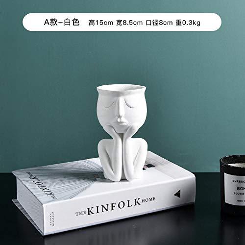 Vase Minimalistische Keramik Abstrakte Vase Schwarz Gelb Menschliches Gesicht Kreativer Ausstellungsraum Dekorative Figur Kopfform Vase 1