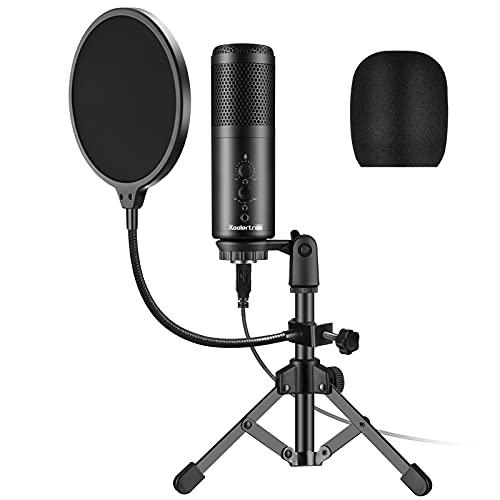 Koolertron Microfono Condensatore, Microfono a Condensatore per PC Professionale,Microfono USB da Studio con Supporto Asta Microfono Regolabile,Filtro Antipop,Ragno Anti Shock,Filtro Anti-Vento
