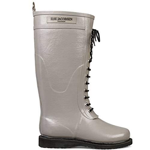 Ilse Jacobsen Damen Gummistiefel | Schuhe aus 100% Natur Bio Gummi | garantiert PVC frei | Lange Stiefel mit Schnürsenkel aus 100% Baumwolle | RUB1 Grau 41 EU