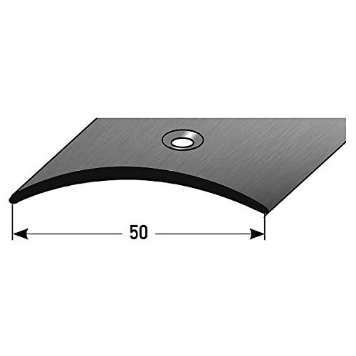 Übergangsprofil / Übergangsschiene / 50 mm / mittig gebohrt / Typ: 155 (Edelstahl matt, 1,5 mm Stärke), Farbe: Edelstahl matt