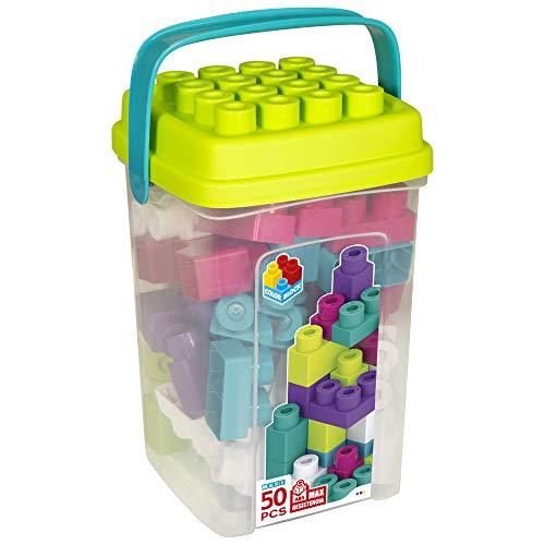 ColorBaby - Bloques de construccion bebe, Cubo 50 bloques de construccion, Ladrillos de colores maxi, Cubos apilables bebe, Juguetes bebe 1 año, Juegos construcción, Mega bloques (49286)