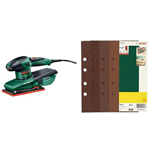 Bosch Schwingschleifer PSS 250 AE (3x Schleifblatt, Bosch Microfilter, Koffer, 250 Watt) + Bosch DIY 25tlg. Schleifblatt-Set verschiedene Materialien für Schwingschleifer...