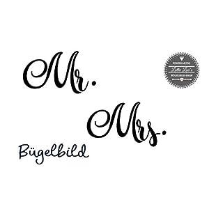 Bügelbild Set Mrs. & Mr. zum Aufbügeln für Maske, Hochzeit, JGA