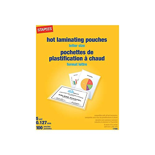 Staples 489526 5 Mil Thermal Laminating Pouches Letter Size 100 Pack
