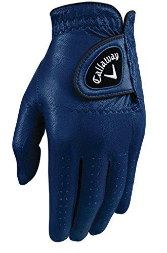 Callaway Golf Men#039s OptiColor Leather Glove Navy Medium Worn on Left Hand