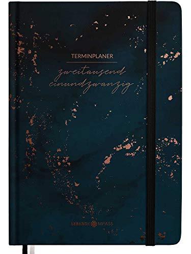 Kalender 2021 A6 Hardcover - Terminplaner 2021 mit 2 Lesebändchen & Gummiband - Jahresplaner Taschenkalender als Lebensplaner - Achtsamkeit Planer 2021 Terminkalender von Lebenskompass®