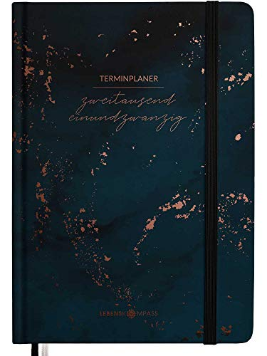 Kalender 2021 A6 Hardcover - Terminplaner 2021 mit 2 Lesebändchen & Gummiband...