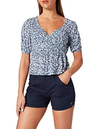 Only ONLPELLA S/S Wrap Smock Top JRS Camiseta, Vintage índigo/AOP:Ranch Floral, M para Mujer