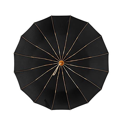 Paraguas vintage 16 hueso luz aleación de aluminio lluvioso sólido plegable viento a prueba de viento grandes paraguas hombres lluvia mujer regalo parasol (Color : Black)