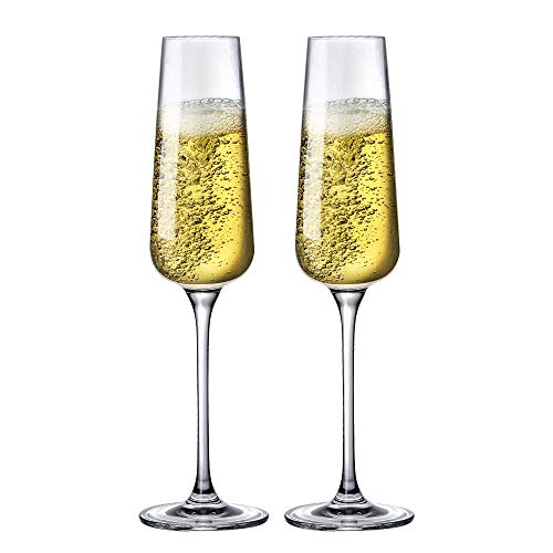 Sattyge Champagne Flute Hand Blown Crystal Champagne Glasses, Clear Clarity Seamless Elegant Flutes, Premium Crystal--Gift Box,Set of 2,8 oz,Great for Wedding,Anniversary