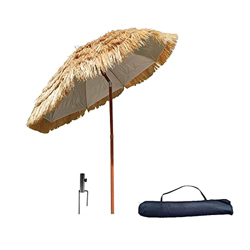 Φ 200cm 240cm Ombrellone da Spiaggia Finta Paglia Stile Hawaiana Ombrellone da Giardino Inclinabile