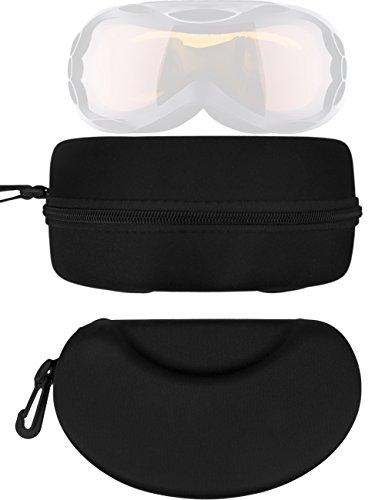 HomeTools.eu® - Ski-Brillen Hard-Case, Brillen-Tasche, Brillen-Etui mit Carabiner, Reiß-Herschluss, Stabile Tasche zu Aufbewahrung und Transport, universell passend, 20 x 12 x 10 cm, schwarz