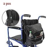 車椅子用バッグ、個人用アクセサリーの保管用-男性、女性、ハンディキャップ、高齢者向けのトラベルメッセンジャーバックパック,2pcs