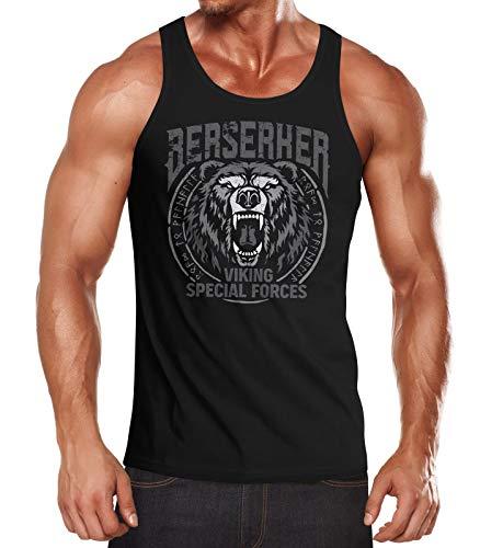 Neverless® Herren Tank-Top Berserker Bär Viking Runen nordische Mythologie Muskelshirt Muscle Shirt schwarz 3XL
