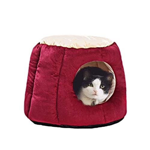 Oncpcare Kitty Kat Huis Kleine Dieren Huis Zachte Warm Konijn Hut Frustum-Shape Guinea Varken Bed Hideout Met Verwijderbare Kussen voor Winter, M, Wijn Rood