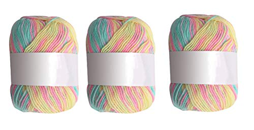 Juego de lana, lana de tejer, lana para crochet, juego de lana de ganchillo hecho a mano, hilo acrílico de colores variados para ganchillo y artesanías (3 x 50 g)