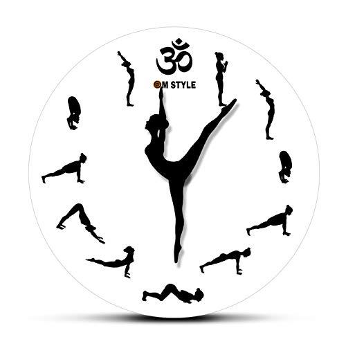 ZHANGLEI Wall Clock Yoga Pose Clock Hands Yoga Positions Sun Salutation Style Wall Clock Surya Wall Art Modern Yogic Silent Wall Watch for/Home/Office/School/Bedroom/Math/Kids Room/Playroom