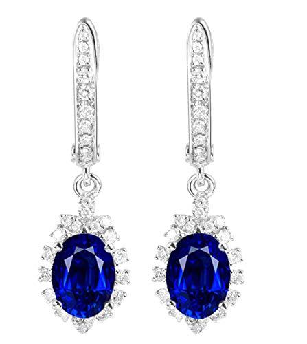 Epinki Oro de 18 Quilates Pendientes Zafiro Forma Mujeres Semental Aretes 1.0ct con 1ct Azul Zafiro