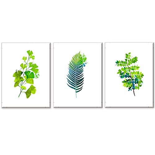 Cuadros Sobre el Lienzo Imprimir Impresiones de Lienzo Hoja Verde Fotos Estilo Nórdico Pintura Prueba de Agua con Marco Listo para Colgar para Sala de Estar Décor Dormitorio Regalo 3x30x40x2.5cm