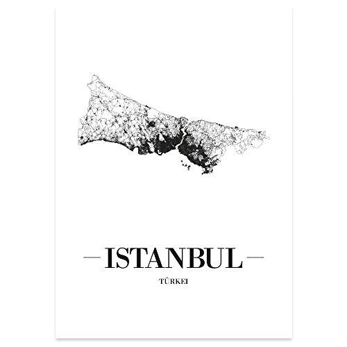 JUNIWORDS Stadtposter - Wähle Deine Stadt - Istanbul - 30 x 40 cm Poster - Schrift A - Weiß