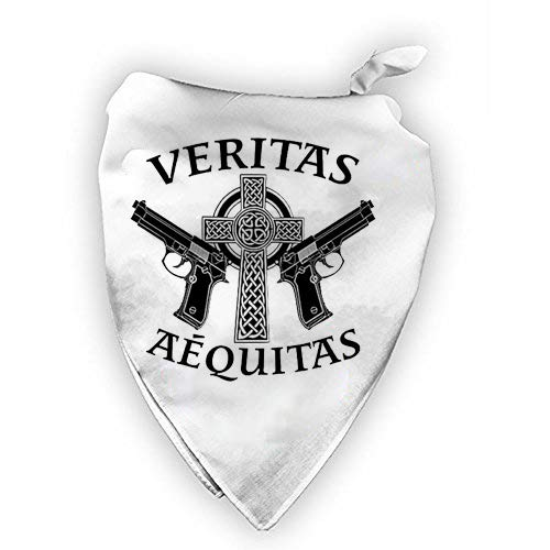 Aequitas Veritas Saints Gun Celtic Cross - Customized Printed Bandana White