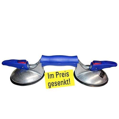 2-Kopf Saugheber für strukturierte und raue Fliesen mit Vakuumanzeige und Doppeldichtlippe, 11799