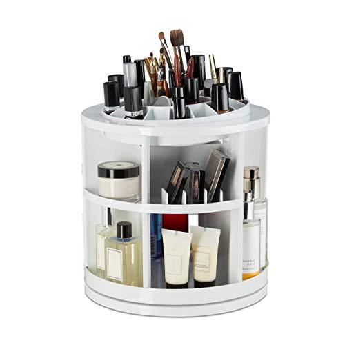 Relaxdays Cosmetica-organizer, 360 graden cosmetica-carrousel, acryl make-up tower met 38 vakken, lippenstifthouder, wit