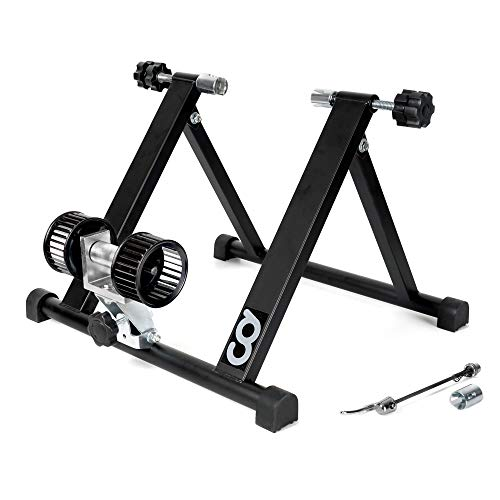 CyclingDeal Bicycle Bike Indoor Home Exercise Wind Resistance Trainer - Stationary Cycling Bike Training Stand for Indoor Riding Converter Mount - With Front Block Riser & Skewers - NOT for 29er Bikes