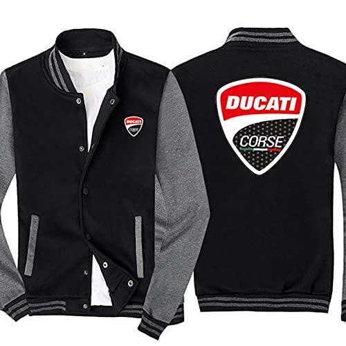 QWEIAS Chaquetas para Hombres Sudaderas Uniforme De Béisbol para Ducati Print Fashion Outerwear De Manga Larga Sportswea Casual Abrigos Tops A-4XL