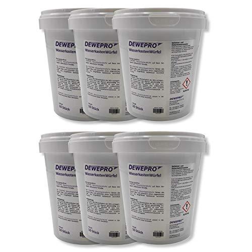 DEWEPRO WasserkastenWürfel 6 Dosen à 10 Stück - der WC-Reiniger zum Einwurf in Spülkästen vieler Hersteller (z.B. Geberit, Sanit) mit Einwurfschacht