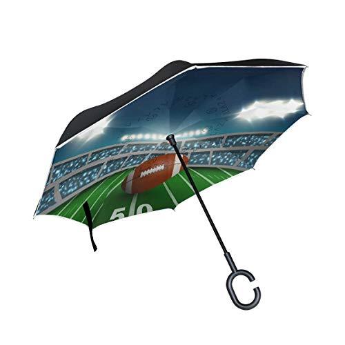 AOTISO Umgekehrter Regenschirm des American Football-Stadions, großer doppelschichtiger Regensonnen-Regenschirm im Freien