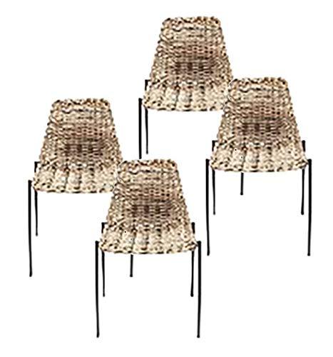 Kare Tanzania Chair (4/Set), Rattan, Black, One Size