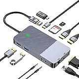 xllLU Tipo C Hub Dual HDMI-compatible/VGA/Lan 2xUSB3.0 Puertos SD/TF/2xAux 3.5mm 11 en 1 Docking Station HDD SDD usb c adaptador a USB micro hdmi-compatible hub auriculares Jack carga Puerto VGA