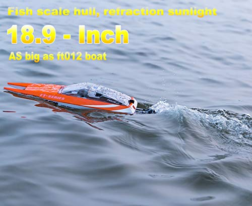 """FT016 Remote Control Boat RC Submarine Ship Racing Speedboat 30km+ for Boys Adults Lake Pool Auto Water Cool, As Big as Feilun ft012 rc Boat (18.9"""")"""