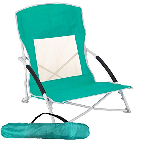 JEMIDI Strandstuhl, Campingstuhl, Klappstuhl mit Tragetasche Klapp Stuhl belastbar bis 110kg Klappsessel Strandliege Liege Liegestuhl Mint 1 Stück
