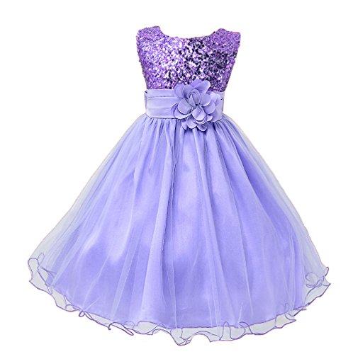 Wocau Little Girls' Sequin Mesh Tull Dress Sleeveless Flower Party Ball Gown (110(3-4 Years), Purple)