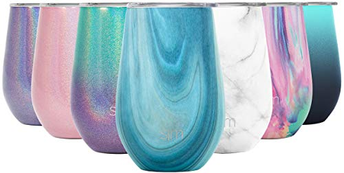 Simple Modern 355mL Spirit Premium Weinglas-Thermobecher Weingläser Weinbecher mit Deckel - Vakuumisolierte Flasche Trinkflasche Edelstahl 18/8 Wein Tasse Kaffeebecher to go Muster: Ozean Quarz