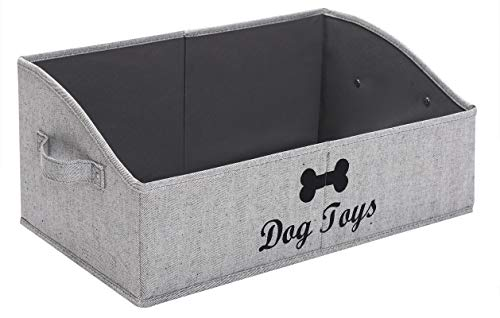 Morezi Linen-Cotton Blend Dog Toy Basket and Dog Toy Box, Dog Toy Basket Storage - Perfect for organizing pet Toys, Blankets, leashes, chew Toys - Grey Stripe