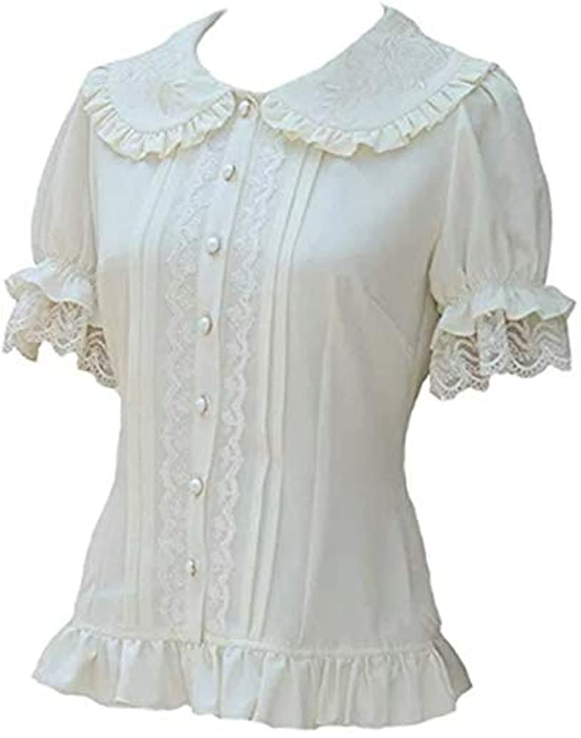 TanQiang Women's Sweet Lolita Shirt Short Puff Sleeve Flower Embroidered Peter Pan Collar White Ruffle Blouse